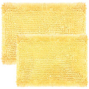2 Laura Ashley chenille noodle yellow bath rugs